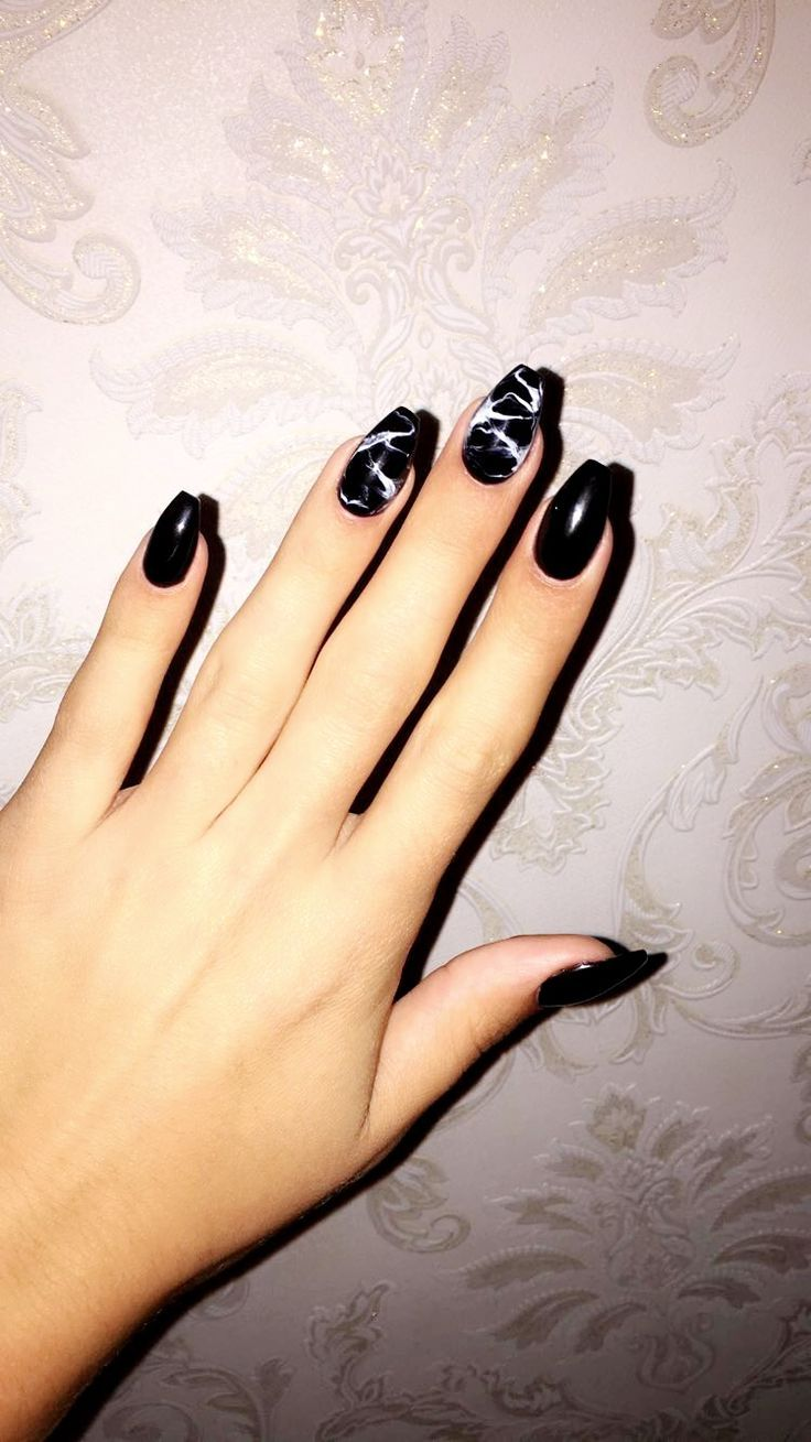 Black Coffin Nails Plain Acrylic Nails Black Acrylic Nails Black Marble Nails