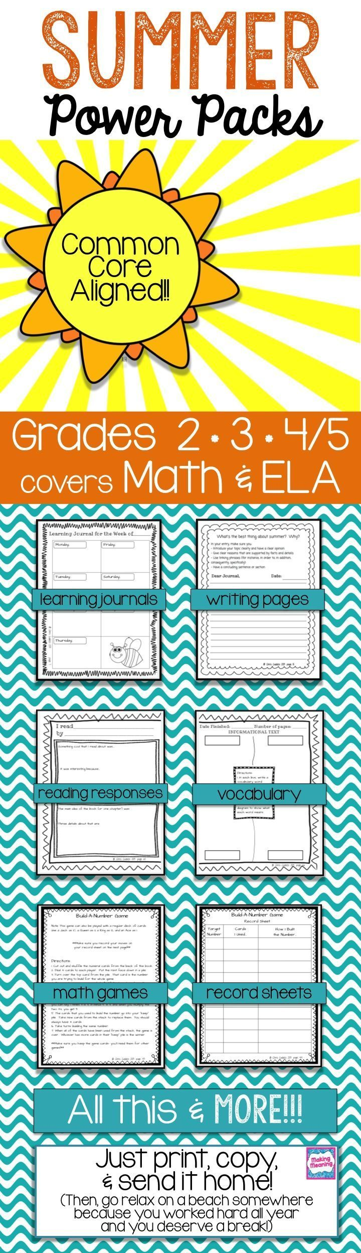 SUMMER PACKET - 4th Grade Math & Language Art Booklets / Anchor ...