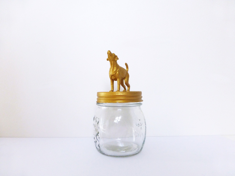 Gold Dog Jar Dog Treat Storage Fun Dog Food Container Gold Dog Pet