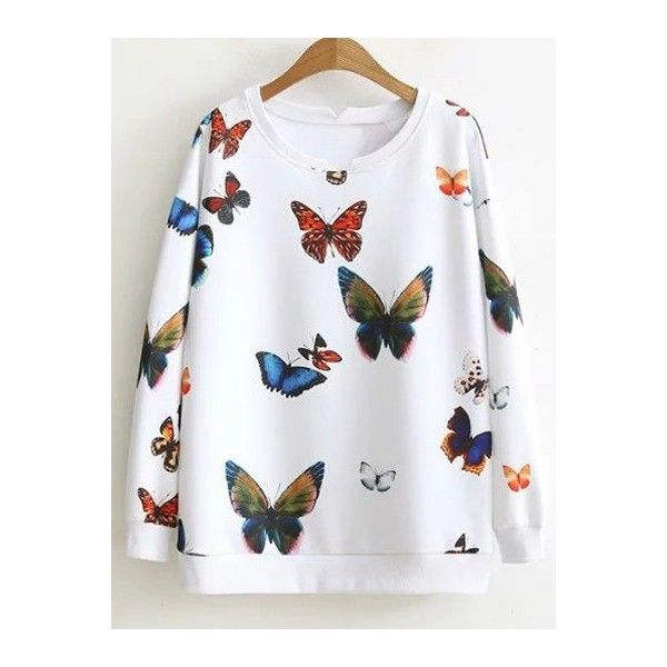 Loose Butterfly Colorful Sweatshirt ($21) ❤ liked on Polyvore featuring tops, hoodies, sweatshirts, rosegal, loose sweatshirt, colorful tops, multi colored sweatshirts, multi color tops and colorful sweatshirts