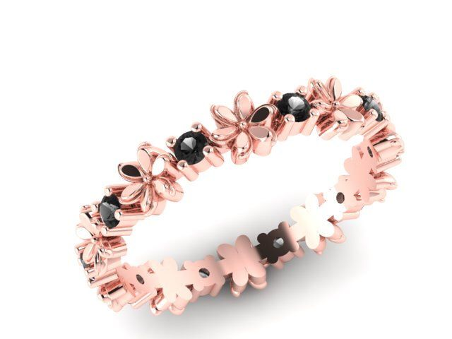 A personal favorite from my Etsy shop https://www.etsy.com/listing/241649695/wedding-band-rose-gold-and-black