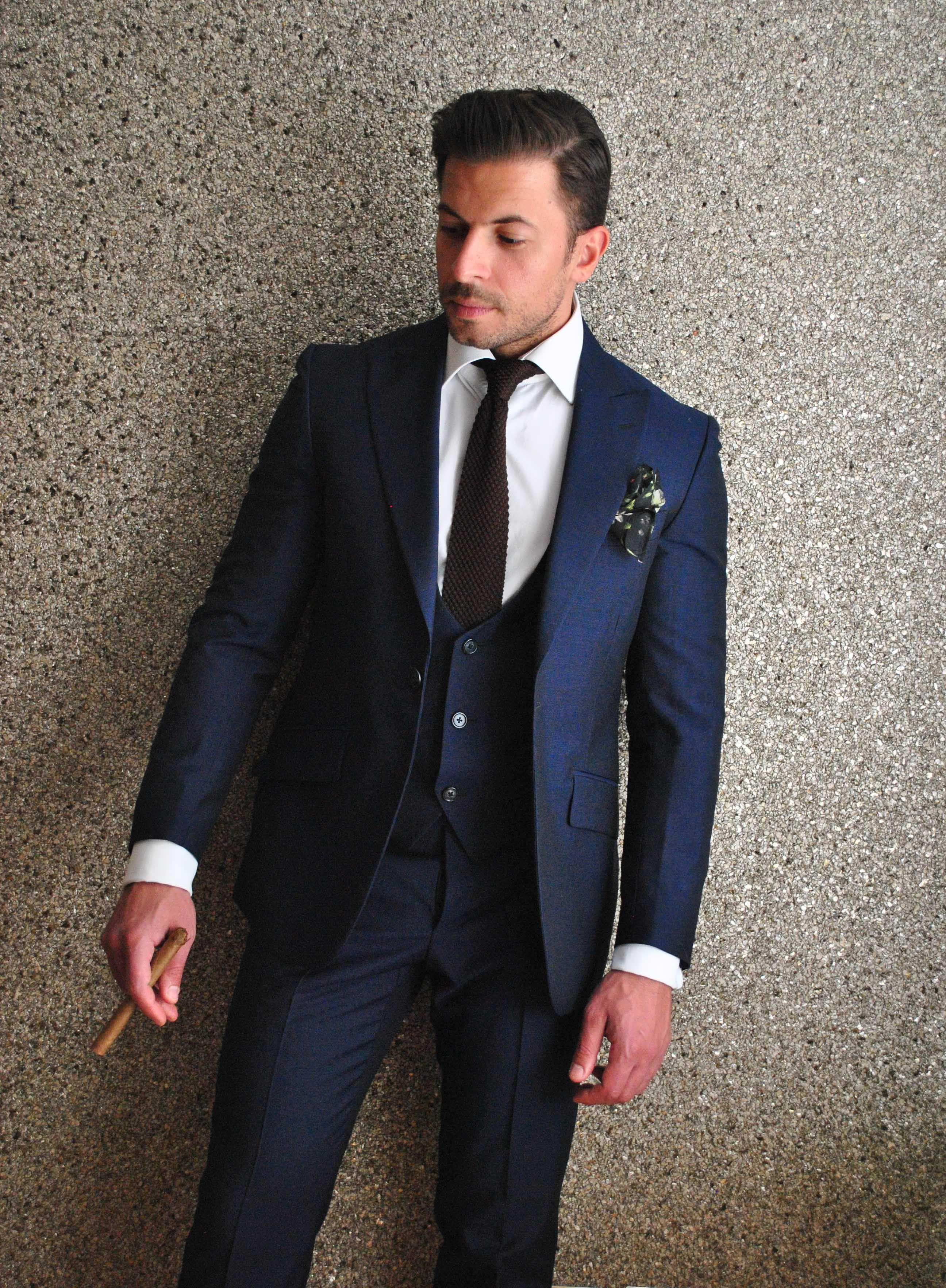 Blue mohair 3 piece suit - Delvero. Brown silk knit tie ...