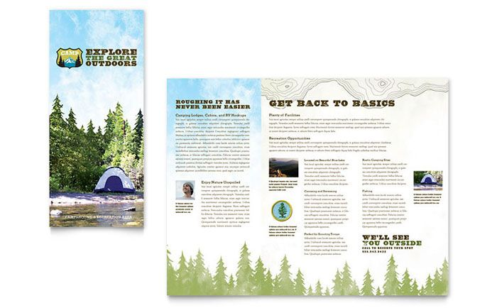 Nature Camping and Hiking Brochure Design Template by StockLayouts - microsoft word tri fold brochure template