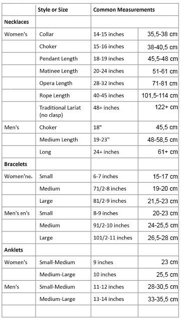Jewelry size chart inches and cm jewellery info pinterest jewelry size chart inches and cm greentooth Images