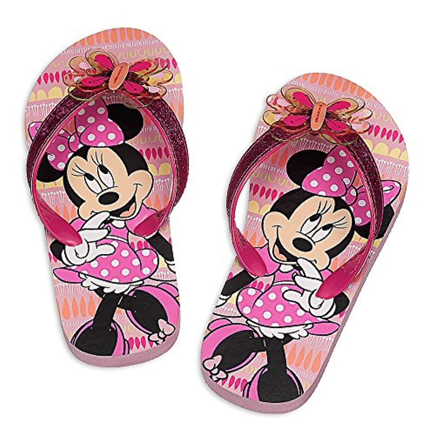 Kids Girls Toddlers Butterfly Design Flip Flops with Elasticated Heel Strap