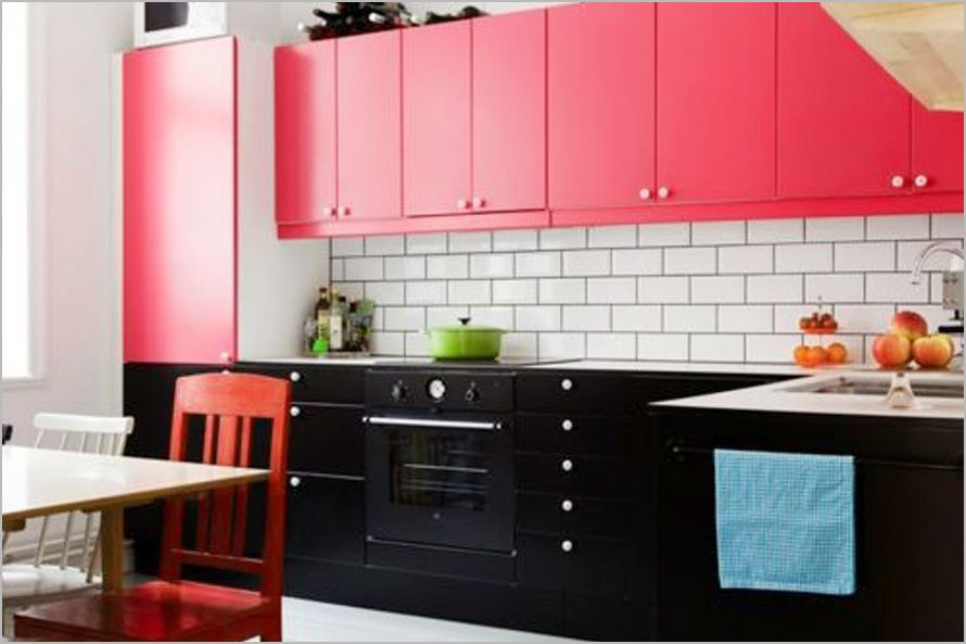 Colorful Kitchen Design Ideas Black Pink Kitchen With Festive And ...