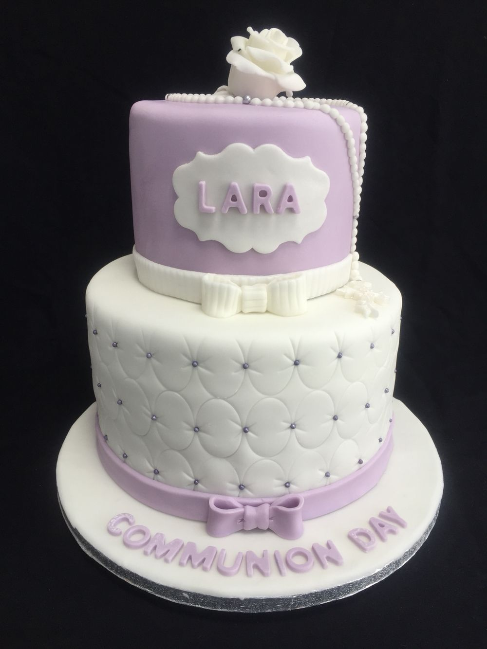 Lilac and white 2 tier communion cake baptism ideas for 1st holy communion cake decoration ideas