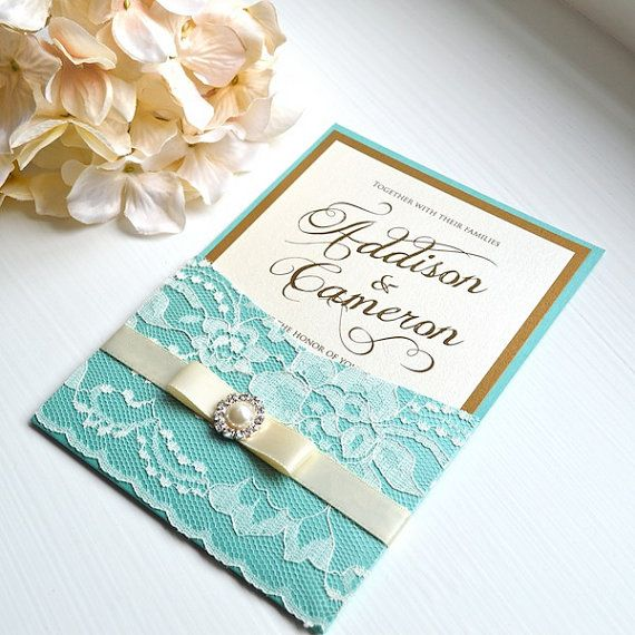 50 Deposit For Aqua And Gold Lace Pocket Invitations Gold Wedding Invitations Turquoise Wedding Invitations Gold Wedding Invitations Design