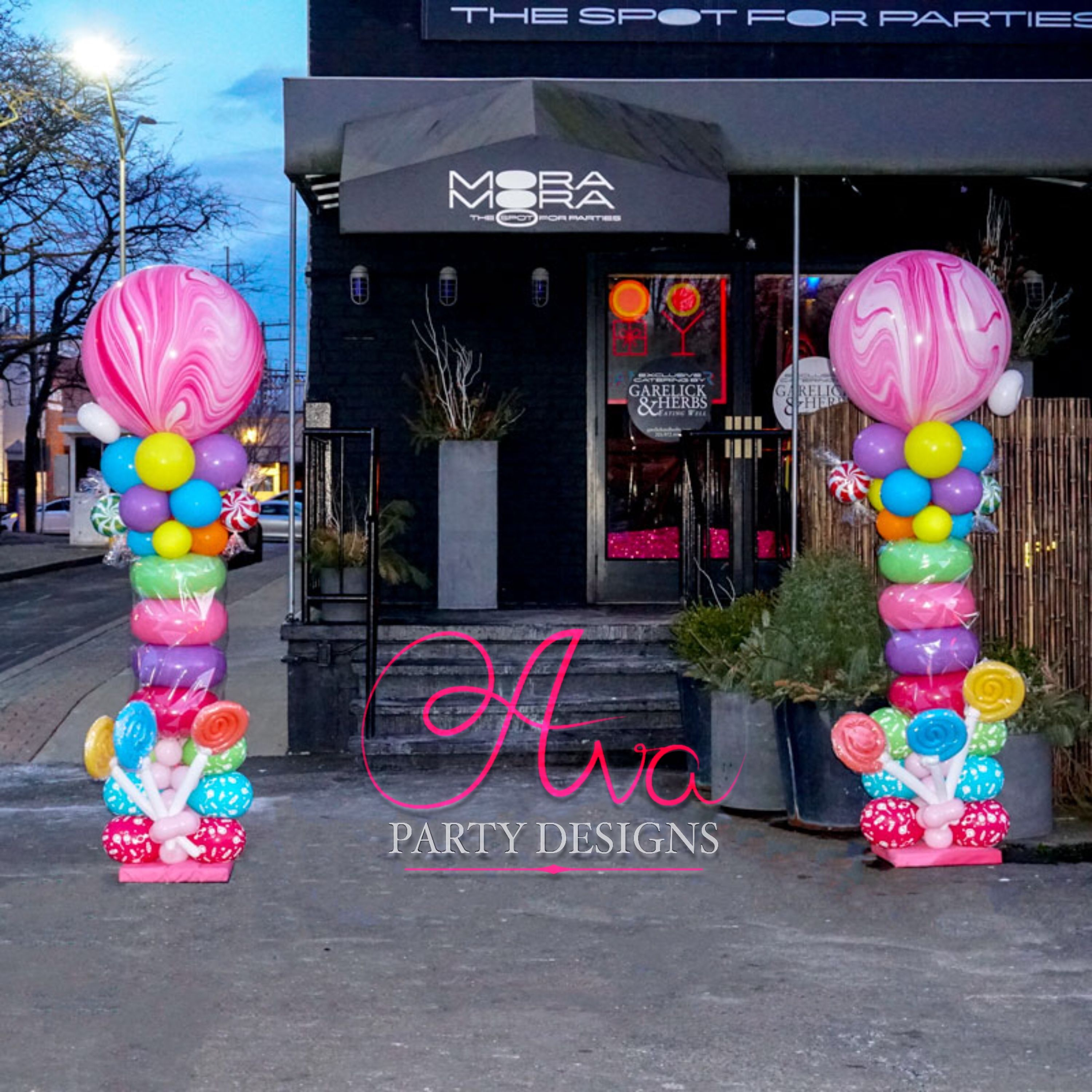 Candy Themed Balloon Columns lollipop and sweets