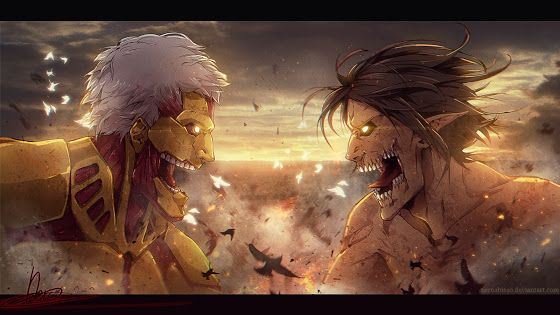 Armored Titan Vs Rogue Titan Eren F09 Hd Wallpaper Titan Cuirasse Dessin Dbz Attaque Des Titans