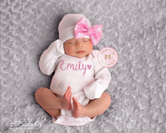afd698c122b17 PERSONALIZED baby girl winter outfit, baby girl coming home outfit, newborn  outfit, baby girl, newbo