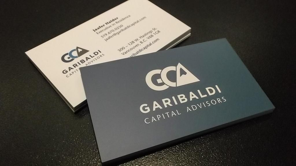 Business cards finished with satin lamination for Garibaldi Capital ...