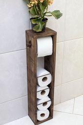 Vintage Kultur Toilettenpapierhalter aus Palette in Elo7 - Ellise M. #holzdekoration