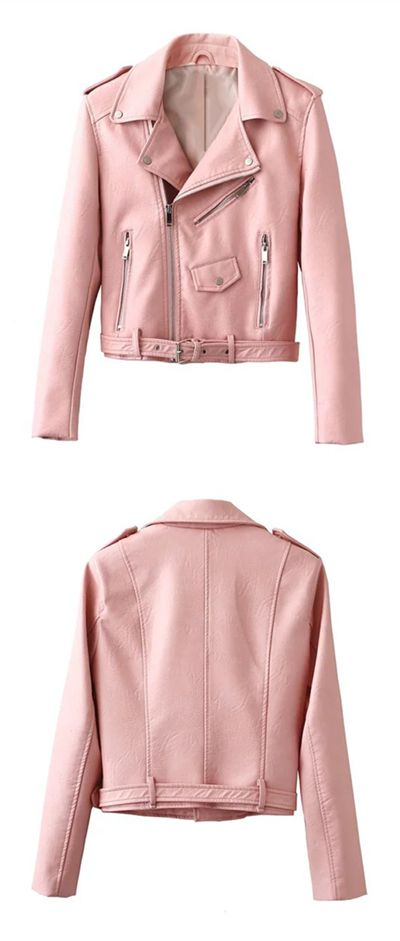Because sometimes your black moto needs a break. Shop this pink jacket for a fresh look!Discover more atFIREVOGUE.COM