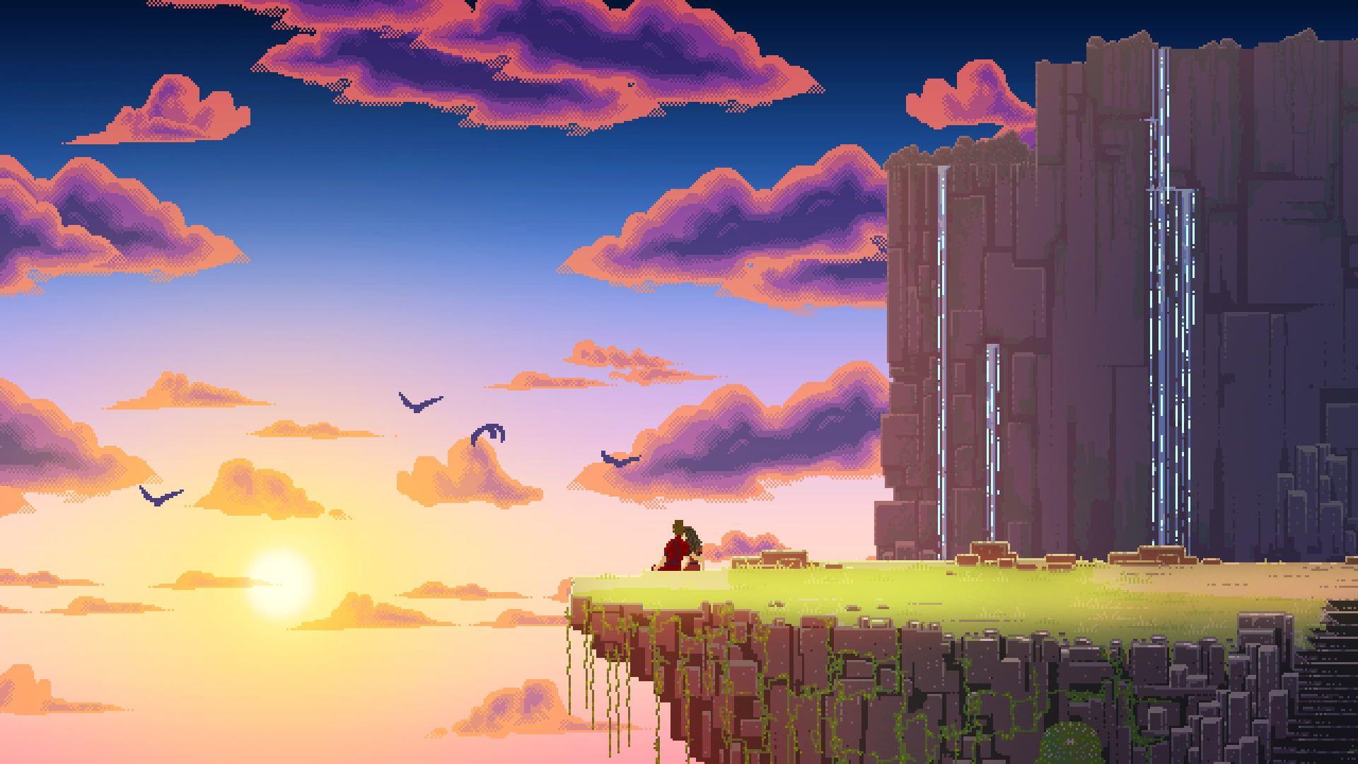 Floating Land Digital Wallpaper Digital Art Pixel Art Pixels Landscape Nature Couple Clouds Birds Wa In 2020 Pixel Art Landscape Desktop Wallpaper Art Pixel Art