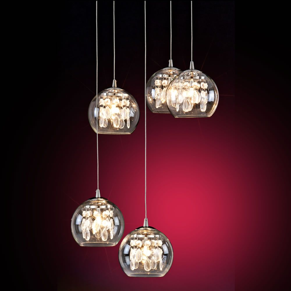 Large Image Of Wilkinson 5 Drop Glass Bead Ceiling Light