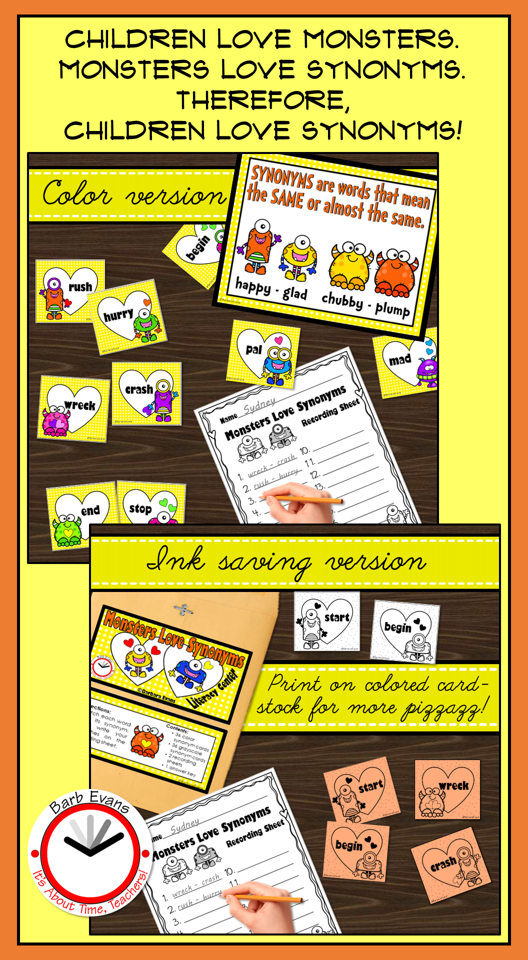 Synonyms Literacy Center Synonyms Activity Grammar