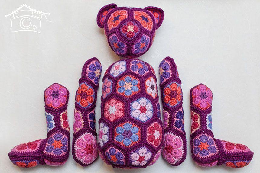 Crochet African Flower Pattern Free : african flower crochet pattern free bear - ????????? ...