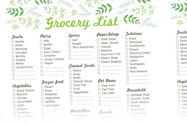 free printable grocery list templates new shop addition noms