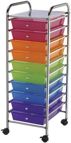 "Storage Cart W/10 Drawers 13""X38""X15.5""-Multi-Color | SongbirdCrafts - Scrapbooking on ArtFire"