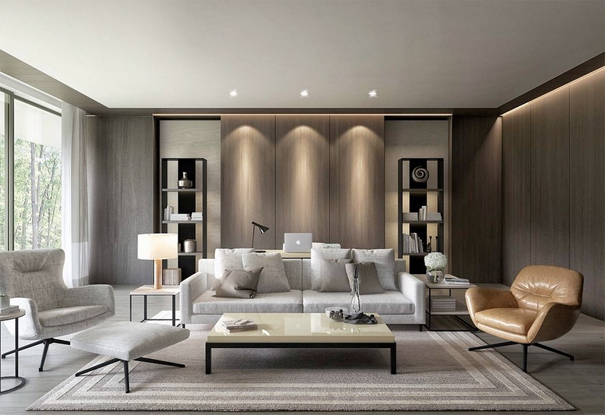 Beautiful Luxury Grey Living Room Decor In Modern Style With Crystal Chandelier Modern Style Luxury Living Room Decor Grey Mode Desain Interior Rumah Interior