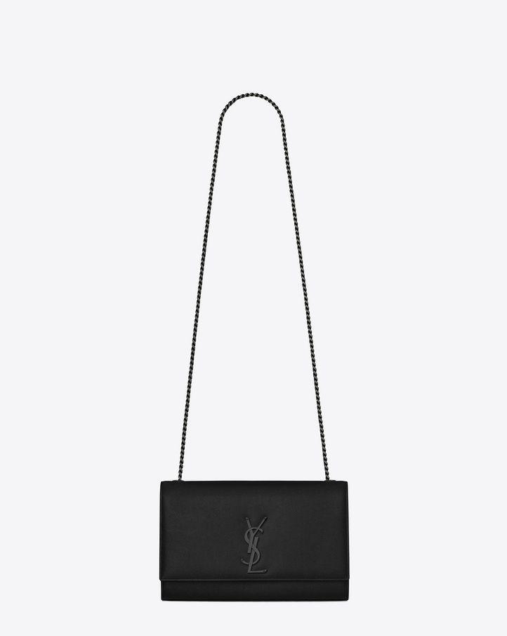 12b9fa8e67c4 CLASSIC SAINT LAURENT GOURMETTE CHAIN SHOULDER BAG WITH INTERLOCKING METAL  YSL SIGNATURE. - black oversized clutch bag