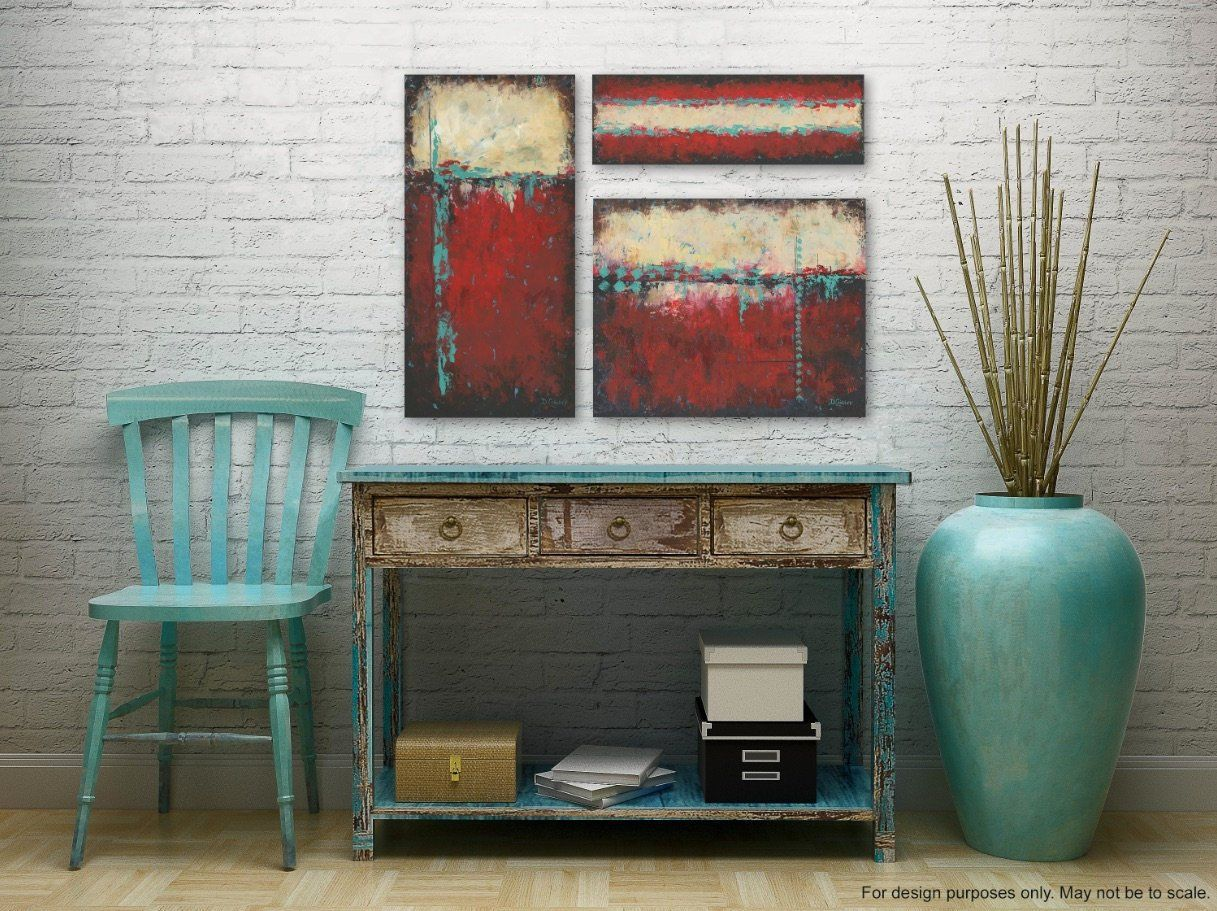Red Black Aqua Teal Rustic Art Work For Southwest Decor 3 Etsy Southwest Decor Rustic Art Santa Fe Style Decor