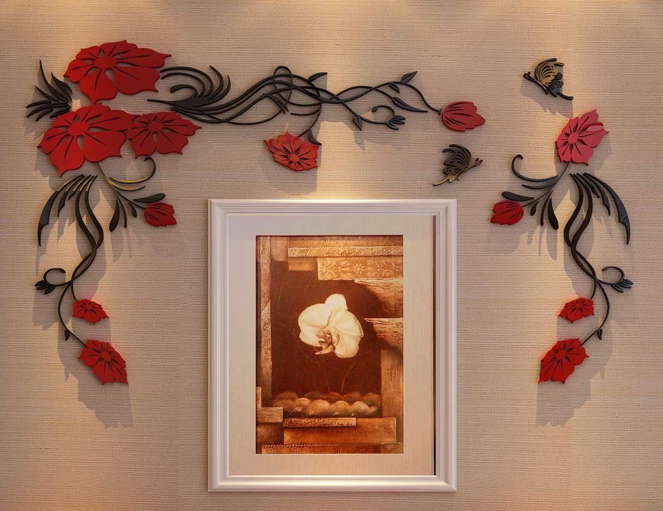 D flower and vine wall murals for living room bedroom sofa backdrop