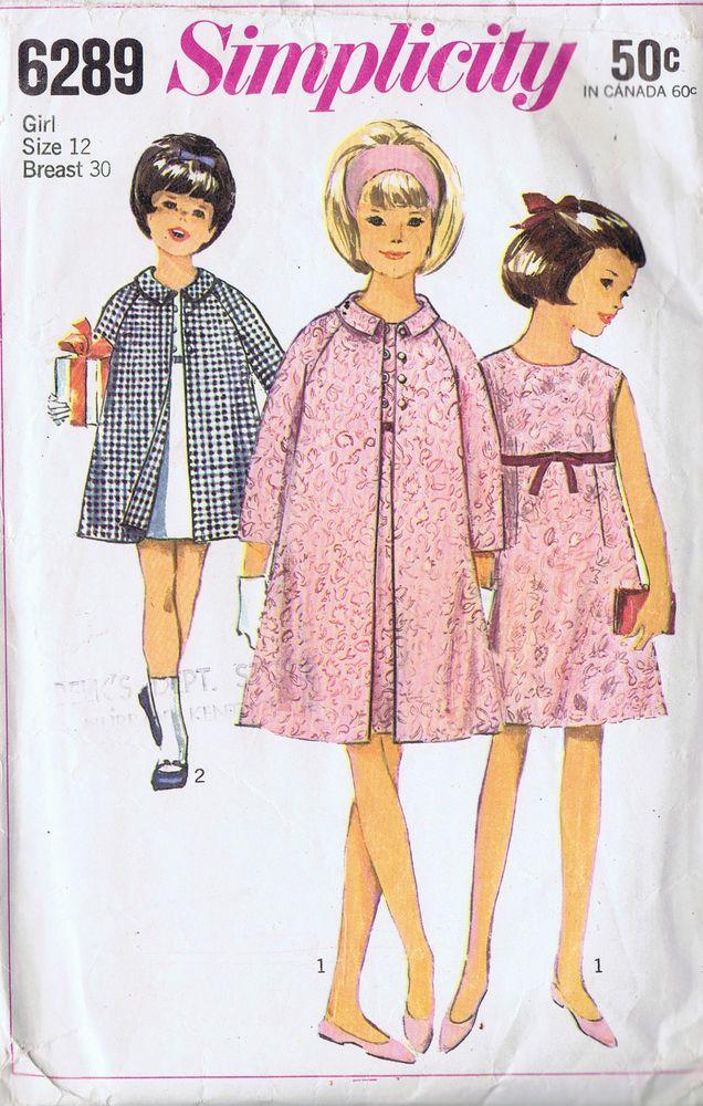 7489 Simplicity SEWING Pattern Girls Dress Jumper UNCUT