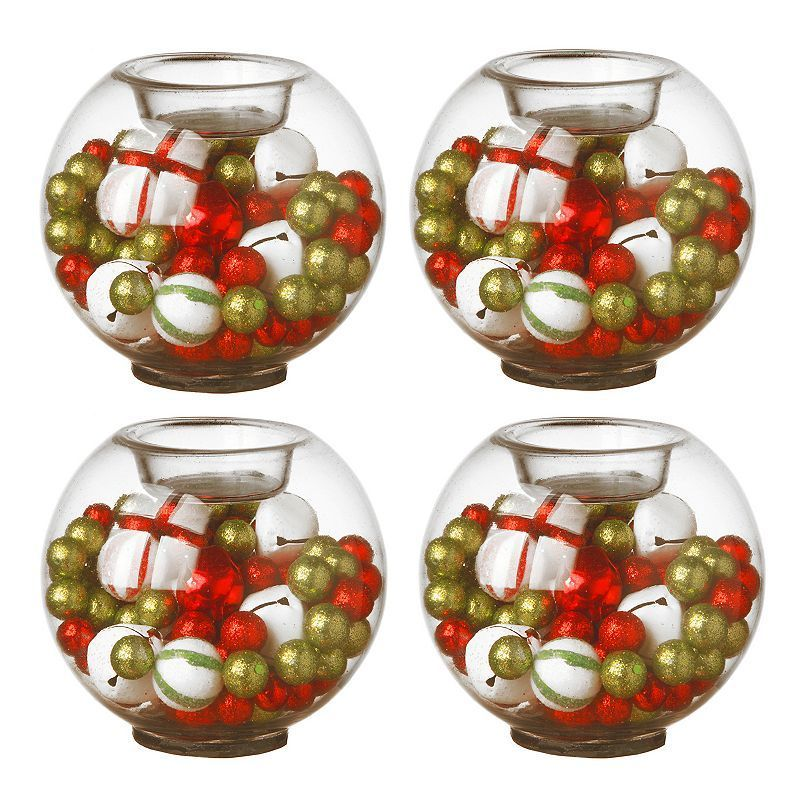 National Tree Company Ornament & Bell Christmas Candle Holder 4-piece Set, Multicolor ...