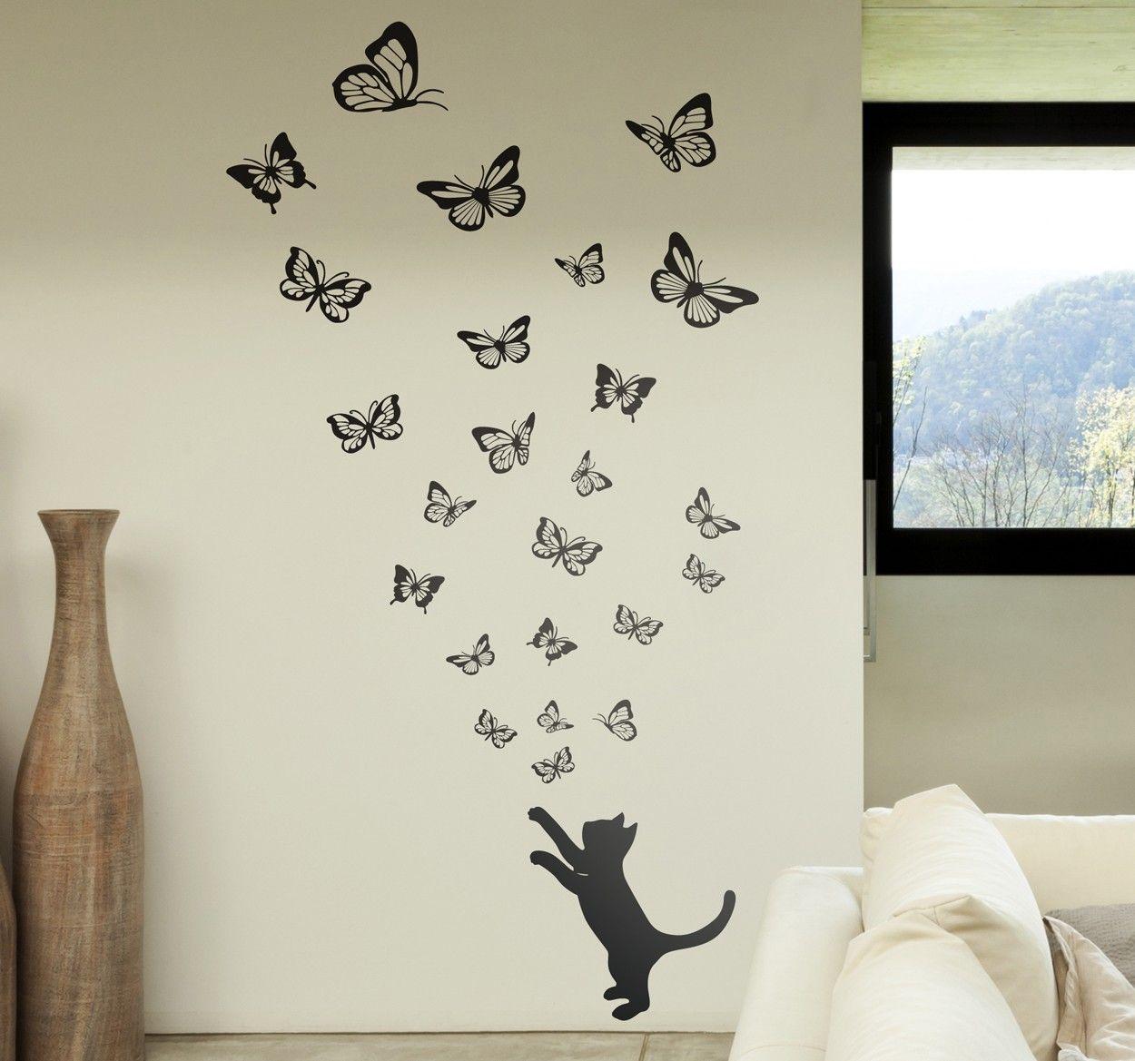Gatto E Farfalle Stencil Da Muro Schmetterling Pinterest