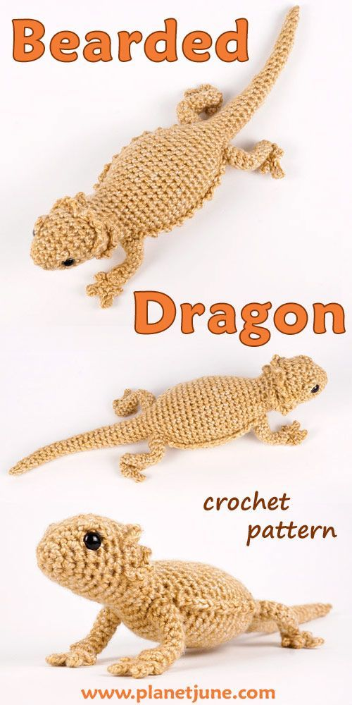 Bearded Dragon (lizard) amigurumi crochet pattern #amigurumicrochet