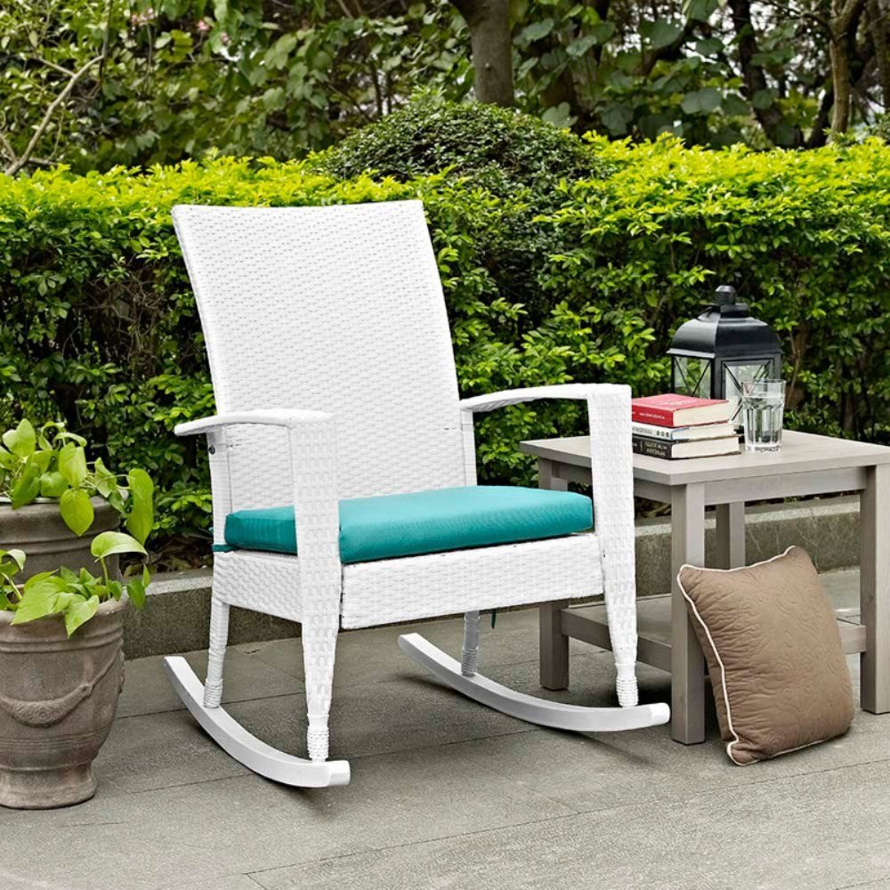 Coral Coast Soho High Back Wicker Rocking Chair With Free Cushion   Outdoor  Rocking Chairs At