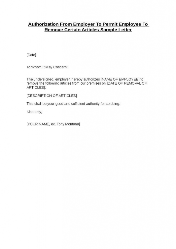 Company Authorization Letter For Employee Authorization Letter