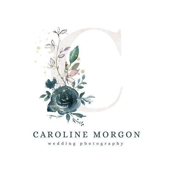 Conception de logo fleur turquoise fleurs monogram logo logo initial mariage photographie logo planificateur d'événements entreprise moderne marque logo boutique