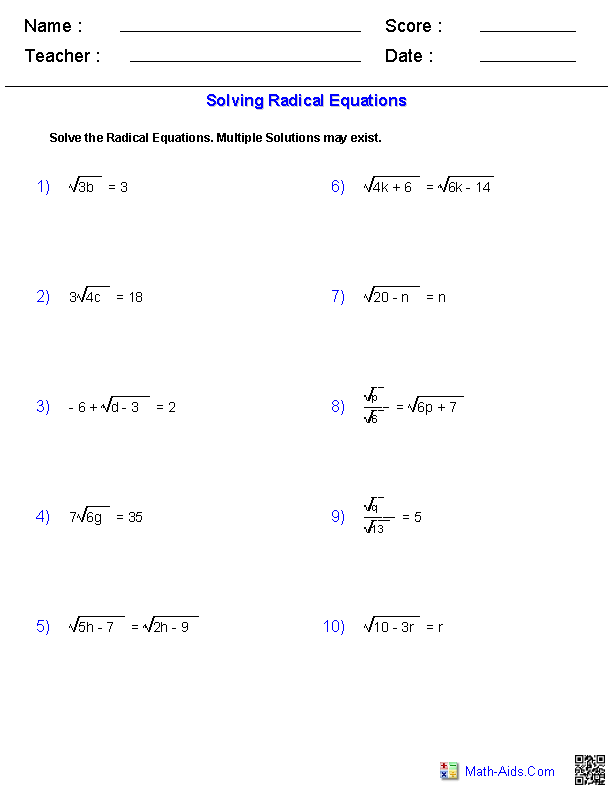 solving radical equations worksheets - Solving Radical Equations Worksheet