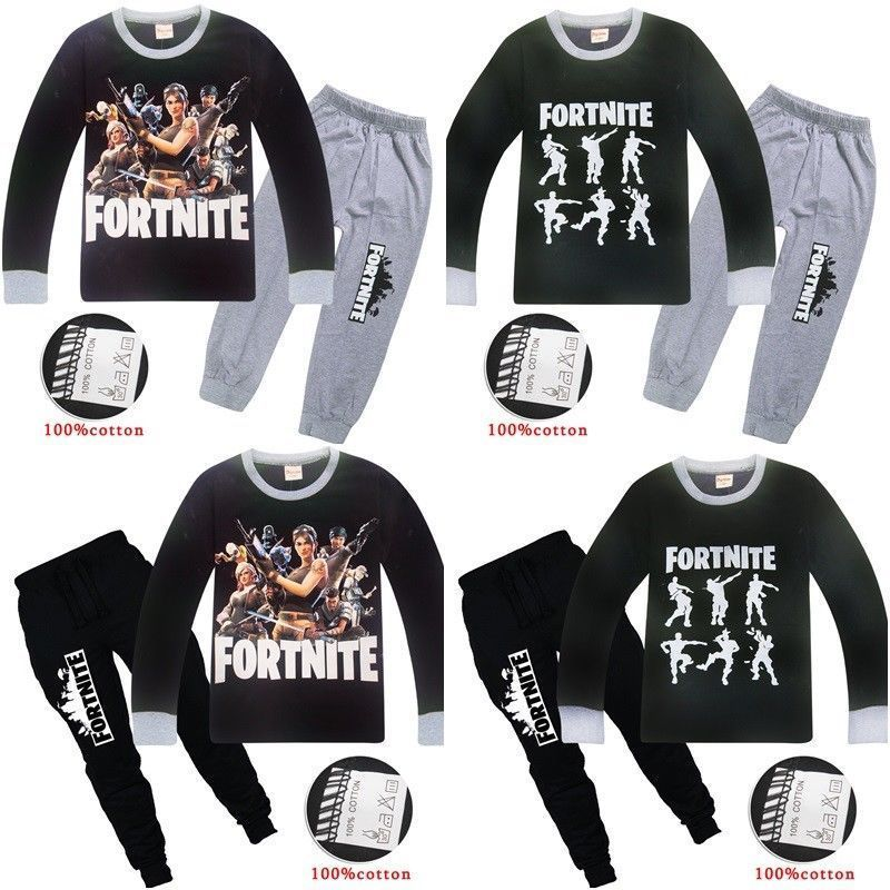 c3f242093064 Boys Fortnite Pyjamas Kids Tracksuit Outfit T-Shirt Bottoms Ages 6 ...