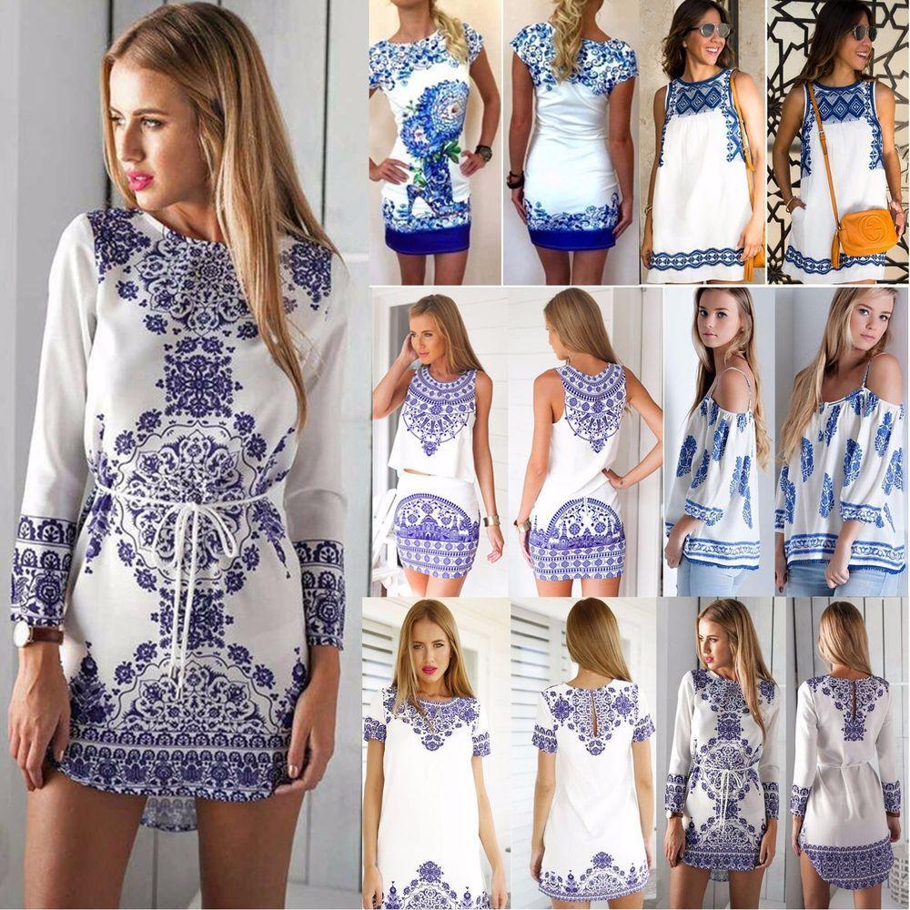 Details zu Damen Vintage Drucken Ärmellos BOHO Kleider Mini Sommer ...