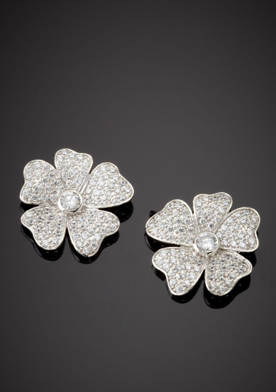 Cz By Kenneth Jay Lane Flower On Earrings