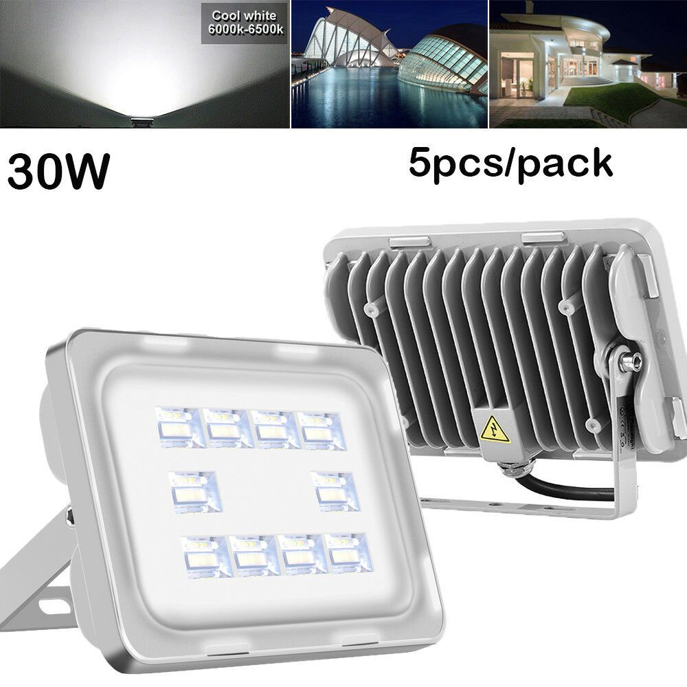 5x 30w Led Flood Light Cool White Outdoor Lighting Garden Yard Spotlights New Led Flood Flood Lights Outdoor Lighting