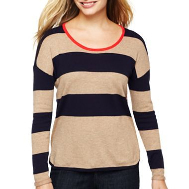 Liz Claiborne Sport Tipped Striped Sweater Jcpenney Jcp