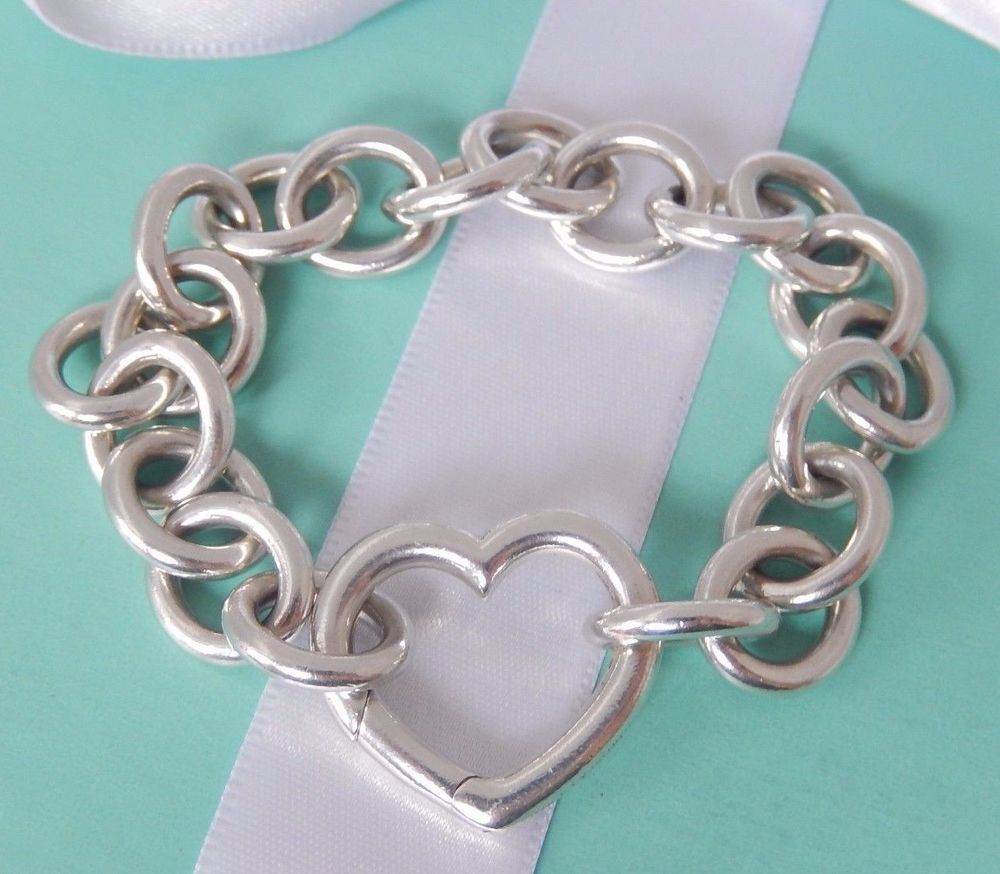 35ffad0d8 Tiffany & Co. Silver Large Link Open Heart Clasp 8