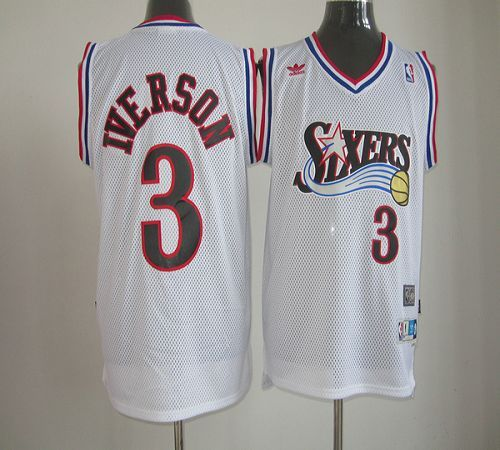44fc710ee 76ers  3 Allen Iverson White Throwback Stitched NBA Jersey
