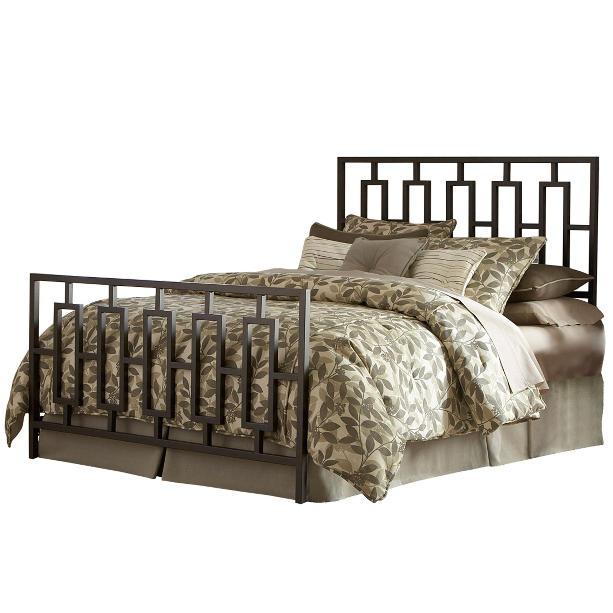 Best Miami Iron Bed Sleek Contemporary Design Coffee Finish 400 x 300