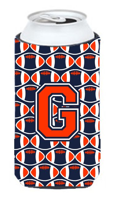 Letter G Football Orange - Blue and white Tall Boy Beverage Insulator Hugger CJ1066-GTBC #artwork #artworks