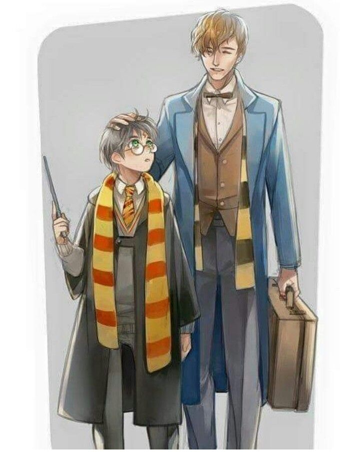 Newt And Harry Adorable Harry Potter Anime Harry Potter Fantastic Beasts Harry Potter Universal