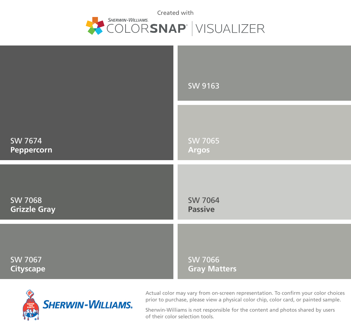 Sherwin williams popular greys - I Found These Colors With Colorsnap Visualizer For Iphone By Sherwin Williams Peppercorn
