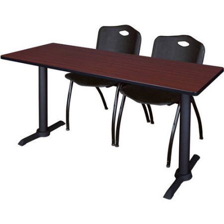 Cain 66 inch x 24 inch Mahogany Training Table and 2 M Stack Chairs, Multiple Colors, Black