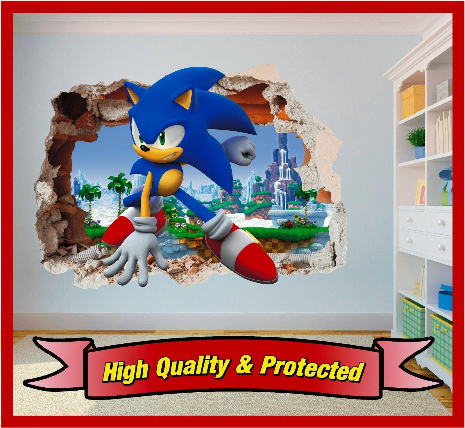Sonic The Hedgehog Hole In Wall 2 Printed Vinyl Sticker Decal Children Bedroom Kid Room Decor Childrens Bedrooms Boys Sticker Wall Art