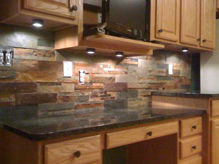 Interior Small Kitchen Decoration Using Dark Brown Stone Kitchen